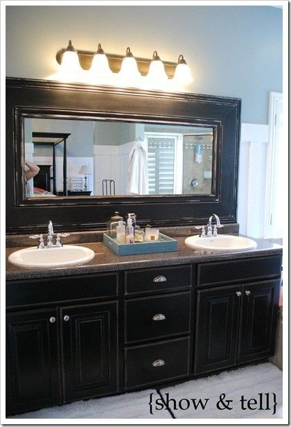 Diy: how to Frame those boring bathroom mirrors.Something as easy as just adding a little trim around it makes a big difference..