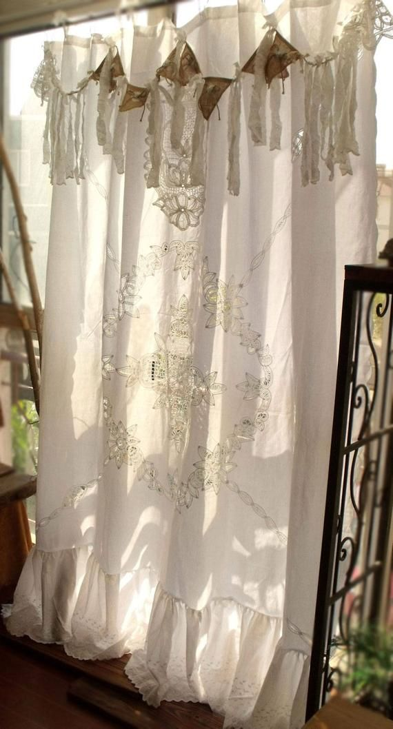 84 Long Antique Boho Shabby Rustic Chic Burlap Lace Lace Shower