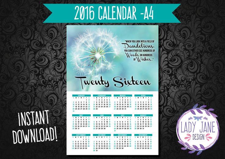 2016 Dandelion Calendar by LadyJaneDesign on Etsy
