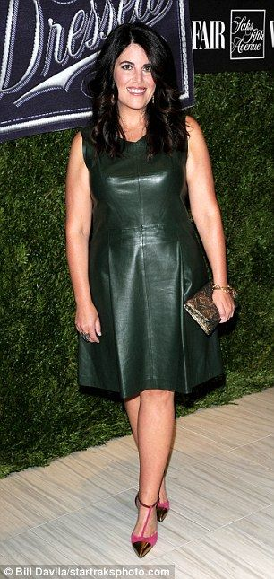 A gem in green: Monica Lewinsky looked lovely in her leather dress...