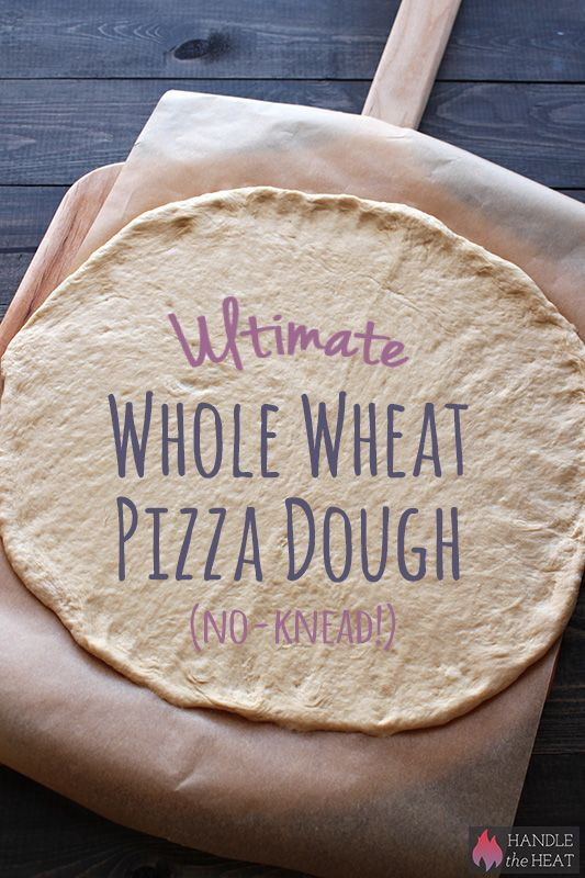Ultimate No-Knead Whole Wheat Pizza dough that is actually light yet chewy and crisp! 100% whole wheat!