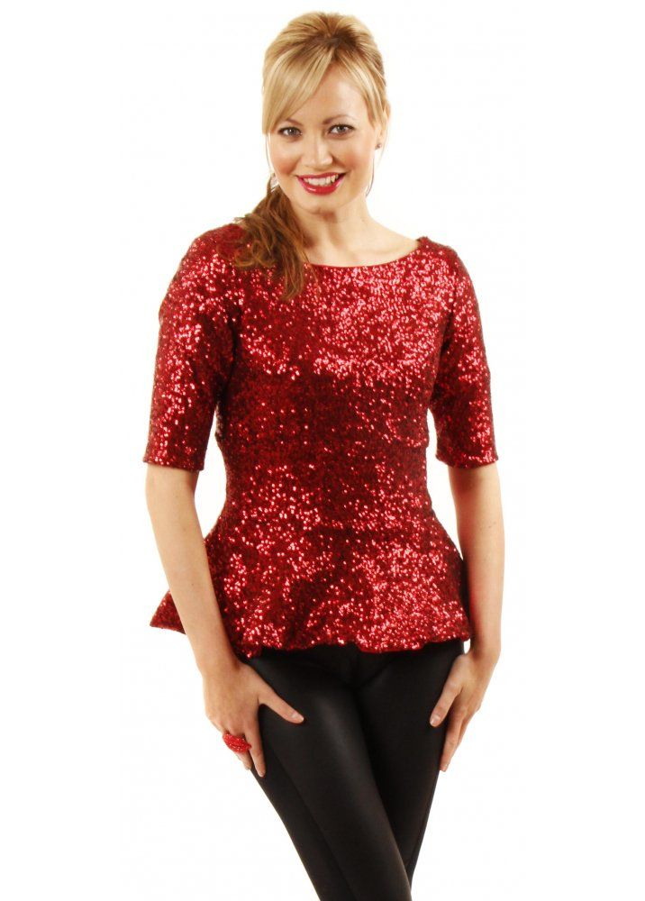 The Pretty Dress Company Luxe Red Sequin Peplum Top