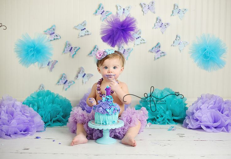 Lavender & Aqua Mint Butterfly themed First Birthday Smash Cake Photography Session | CT Photographer Elizabeth Frederick Photography www.elizabethfrederickphotography.com