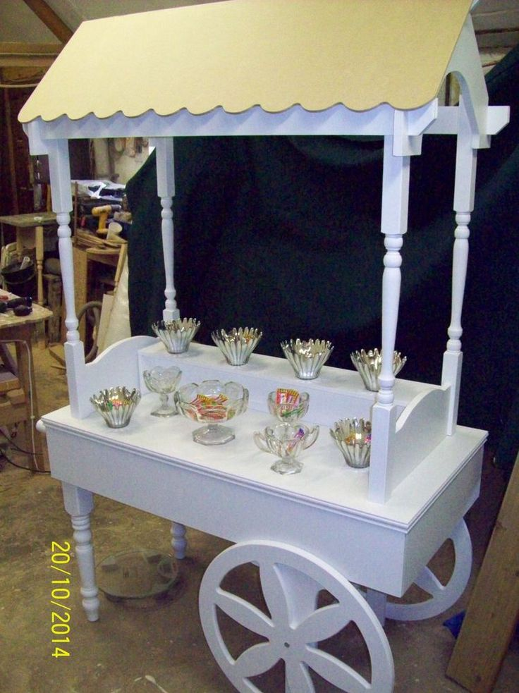 FOR SALE WHITE PAINTED WEDDING CANDY CART with MDF ROOF FOLDS AWAY in Home, Furniture & DIY, Wedding Supplies, Other Wedding Supplies | eBay