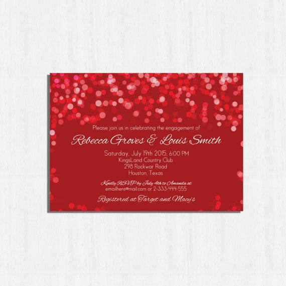 Red Engagement Party Invitation Printable Red bokeh  by MinimalMoon on Etsy, wording just an example