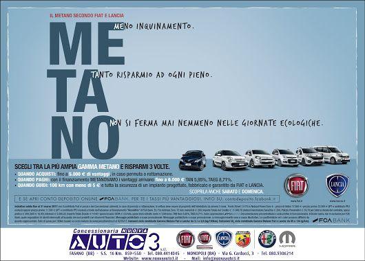 MEno inquinamento. TAnto risparmio ad ogni pieno. NOn si ferma mai nemmeno nemmeno nelle giornate ecologiche.  #Gamma #metano fino a 5.000 € di #vantaggi. #Fiat #Lancia  www.nuovaauto3.it