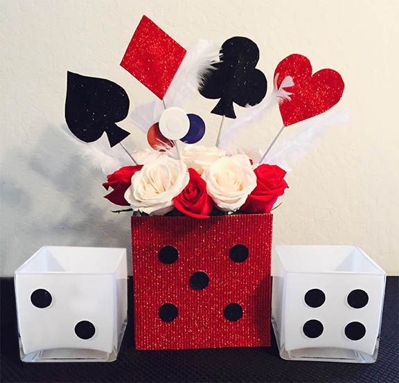 DIY Casino Royale Centerpiece. Step-by-step directions for this sure to impress vase and candle holders.