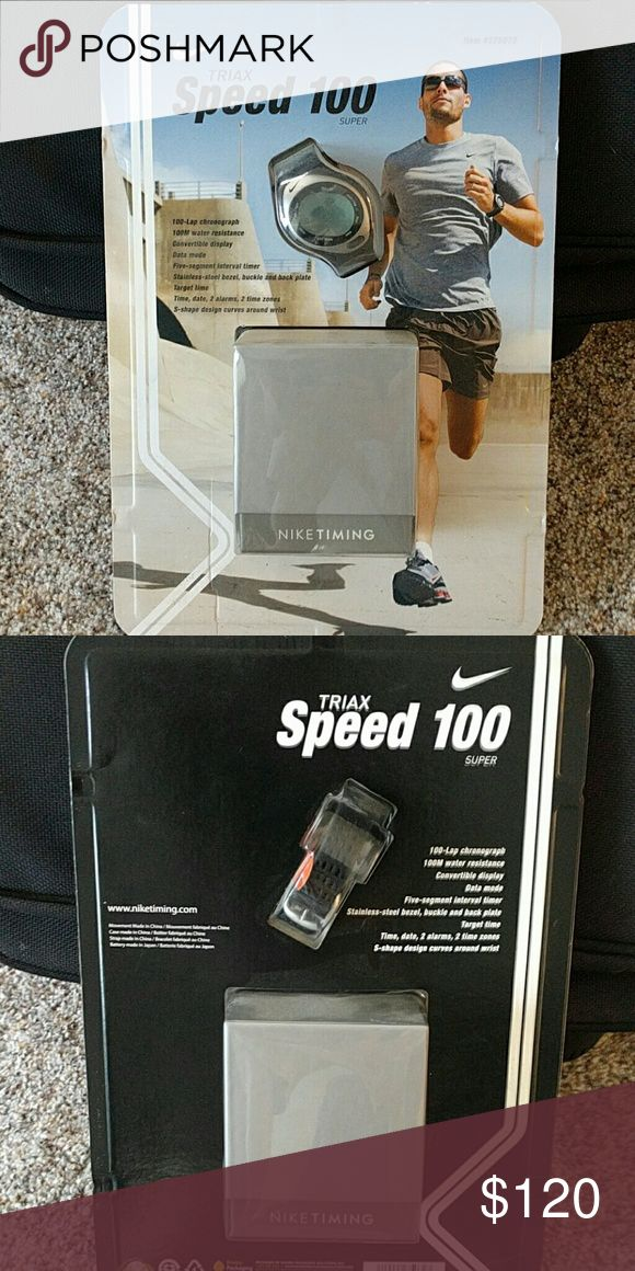 Nike Triax Speed 100 Men's Athletic Watch Brand New Factory Sealed Triax Speed100 Athletic Watch by the Most Trusted Brand in Sports, Nike!    This quality item is comfortable, durable, water resistant up to 100 meters, features 100 lap chronograph, Data Mode (with niketiming.com), five-segment interval timer, and many extras!!!      Selling at huge discount because it needs a new battery.  Any experienced watch or jewelry shop can replace the battery. Nike Accessories Watches