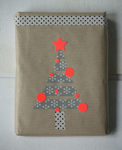 Christmas Tree Christmas Gift Wrap | washi tape and paper punches