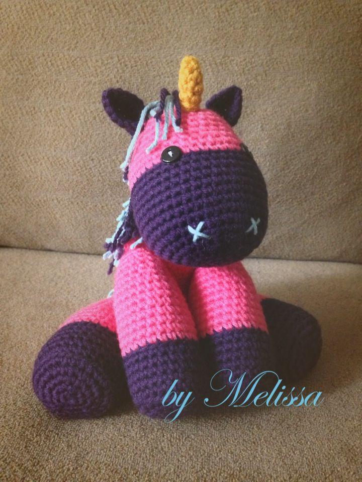 Amigurumi Unicorn Pattern can be found here: http://littleyarnfriends.com/post/24411665124/crochet-pattern-lil-baby-unicorn