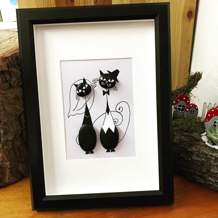 #taşboyama #taş #çerçeve #hediye #özeltasarım #tasarım #kişiyeözel #cat #wedding #brideandgroom #☺️ #love #aşk #blackandwhite #❤️