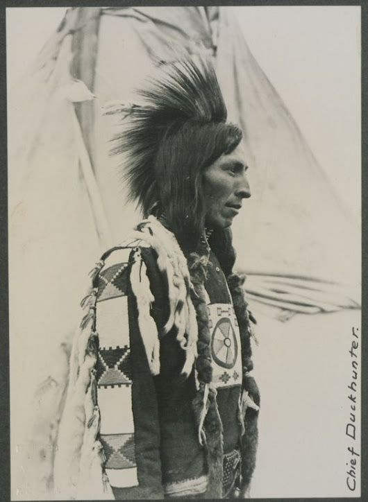Chief Duckhunter, Cree, no date. Interesting name! And look at his gorgeous fur…