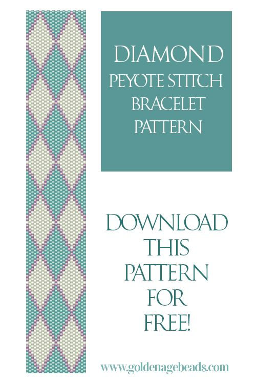 Diamond Peyote Stitch Bracelet Pattern – free download from the Golden Age Beads blog! Can use with either Miyuki Delicas or Toho Treasures size 11/0.