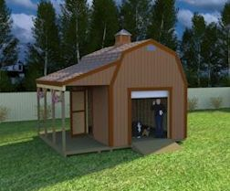 Here's a really neat 12x16 barn shed with side porch with easy to follow shed building plans