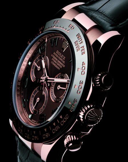 Rose Gold and Black Daytona Rolex watch