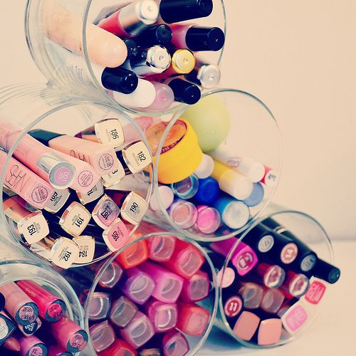 Cool diy for all my lip products!!! I'm guessing you just hot glue gun them together.