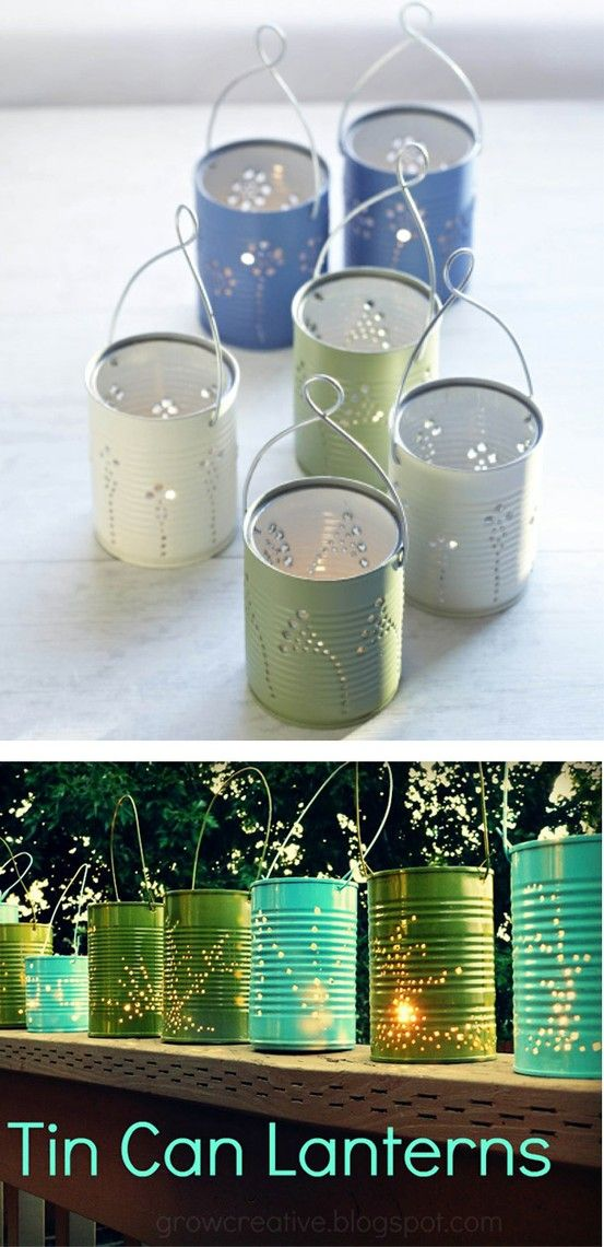 DIY Tin Can Lanterns - recycle food cans, good activity for kids