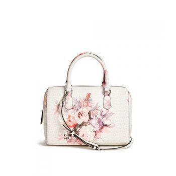 Geanta de mana Genti Femei GUESS Ashville Box Satchel cement de dama gri cu flori