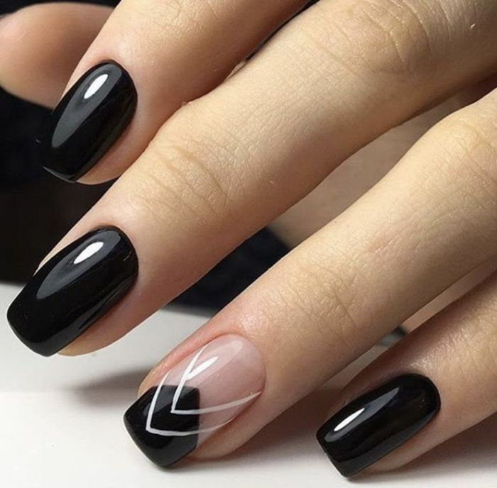 8bb04c2fb uñas de gel decoradas, uñas refinadas de forma cuadrada con puntas  ovaladas, decoración con blanco en el dedo anular
