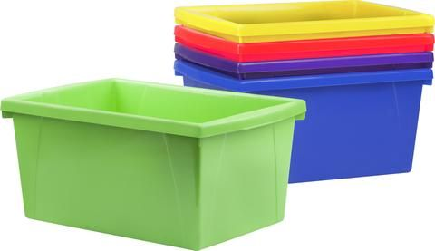 """These storage bins are the ultimate companion for your bookshelf or cubby. The easy to grip handles are perfectly sized for big and small hands. They are made of sturddy impact resistant plastic and come in wonderfully bright colors. Use them to organize your room and store all your supplies. Front and rear handles for easy gripping, even with little hands The inside of the bin is 11"""" long to hold letter size papers and workbooks Item Dimensions: 13.625 L x 11.25 W x 7.87 H 1.02 lbs"""
