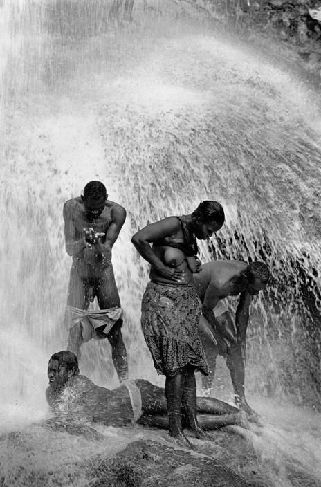 HAITI. Saut d'eau. 1999. This waterfall is the pilgrimage place best representing the syncretism between catholicism and voodoo. The pilgrims, raising their hands to the sky, ask the..