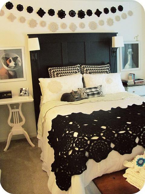 LOVE black crochet blanket over white duvet... lacey touches