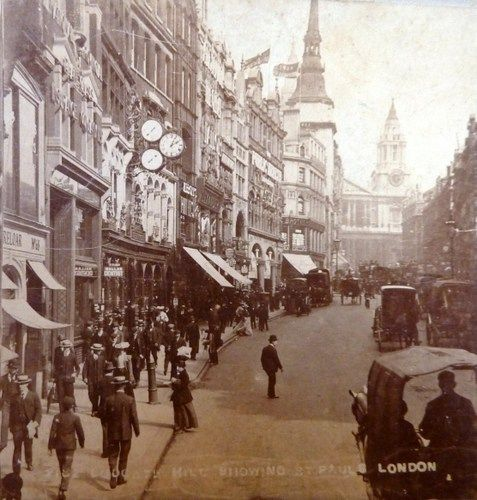 Ludgate Hill showing St Pauls London about 1905
