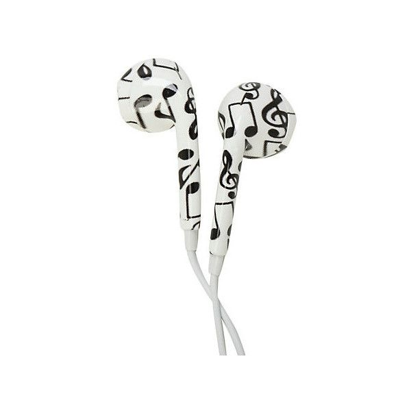 MiCase Music Note Print Earbuds | Hot Topic found on Polyvore featuring accessories, tech accessories, headphones, extra, earbud headphones, headphone earbuds, earphones earbuds and ear bud headphone