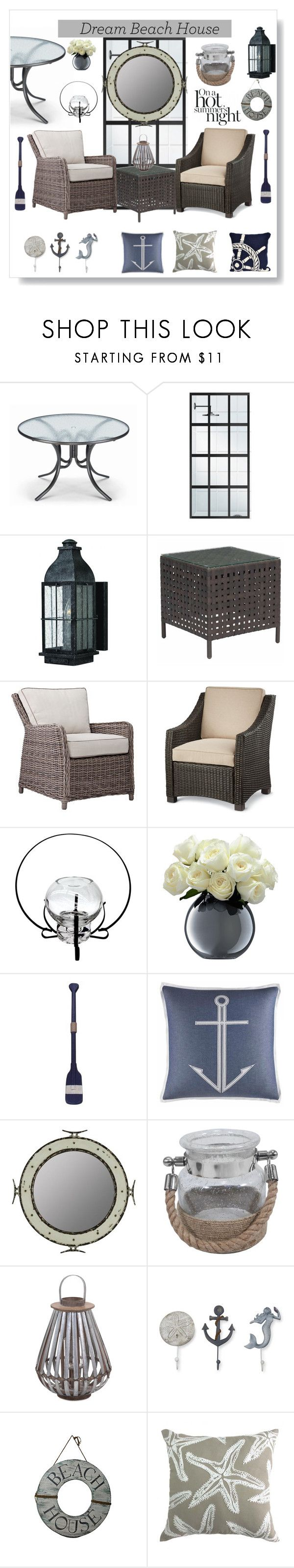 """""""Dream Beach House"""" by maryfromnewengland ❤ liked on Polyvore featuring interior, interiors, interior design, home, home decor, interior decorating, Telescope Casual, Hinkley Lighting, Zuo and Threshold"""