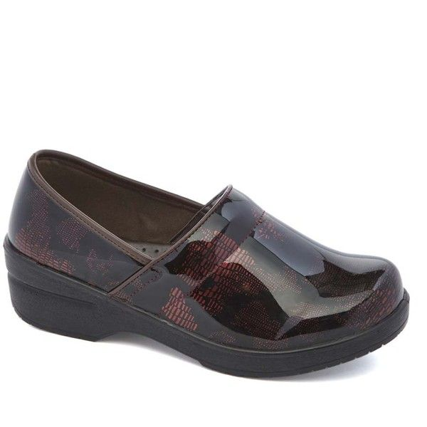 Lady Godiva Burgundy Map Dannis Clog ($30) ❤ liked on Polyvore featuring shoes, clogs, synthetic shoes, low platform wedge shoes, platform clogs, patterned shoes and low heel wedge shoes