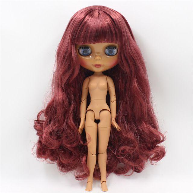 Блит голая кукла красный волнистые волосы с челкой Темно кожи Совместное тела 30 см высокой BJD DIY игрушки кукла реборн купить на AliExpress