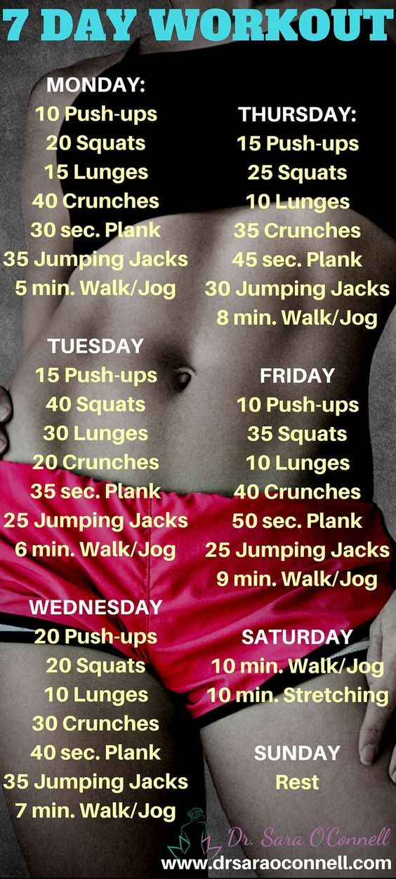 7 day, full body, at home, body weight workout. This simple but effective workout can be used for multiple weeks and is quick, fun and effective.: