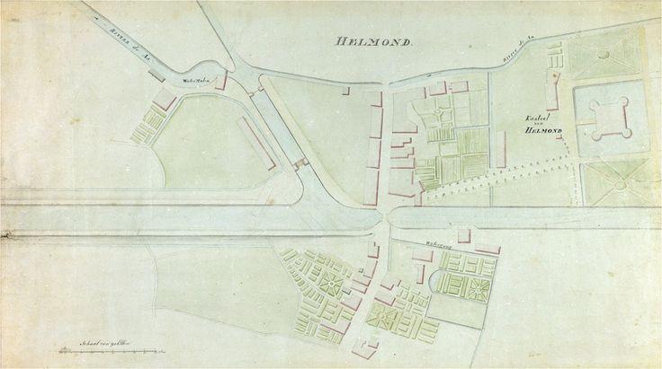 OmschrijvingHelmond. Reproductie van een plattegrond van een gedeelte van de stad Helmond met het kasteel.Op de kaart is de Zuid-Willemsvaart en de haven geprojecteerd  - 1815 - 1825