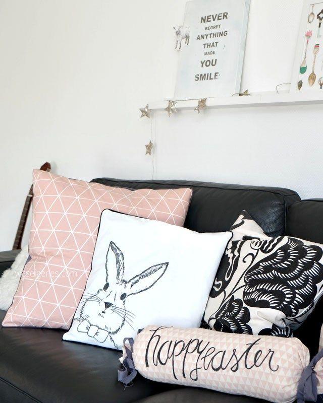 DIY Osterhasen Kissen | Kissenbezug selbst bemalen | happy easter Nackenrolle | sewing & crafts idea | waseigenes.com
