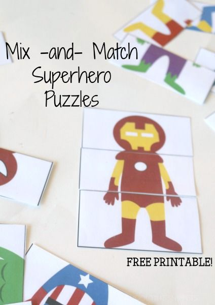 An Iron-Man Head and Hulk Legs?!  Sure, Why Not?!!!  This free mix and match printable is a sure win with your Super Hero fans!