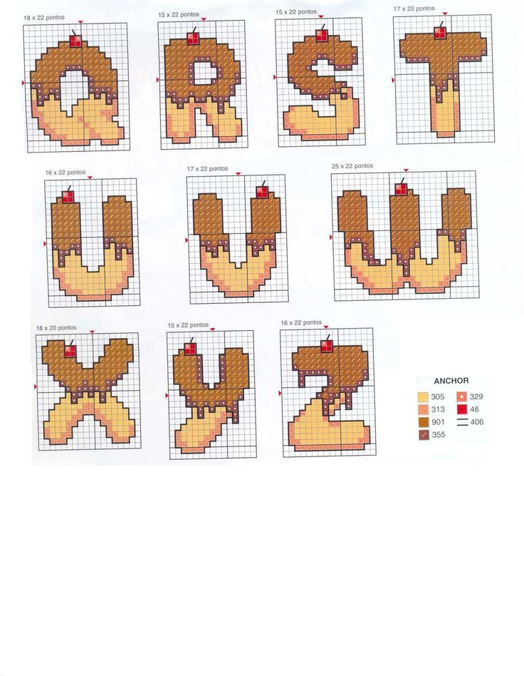Schema punto croce Alfabeto cioccolata 2