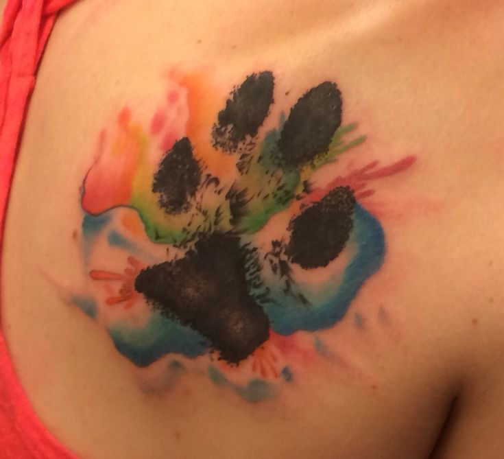 Paw print tattoo/Watercolor Tattoo