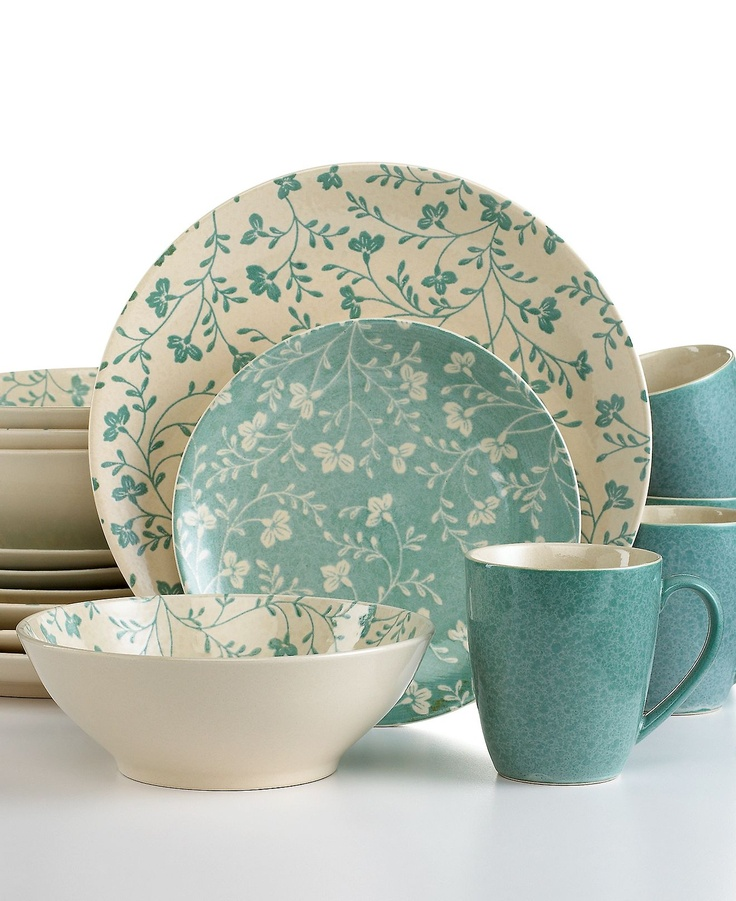 Sango Dinnerware, Fresh Flowers Aqua 16 Piece Set - Casual Dinnerware - Dining & Entertaining - Macy's