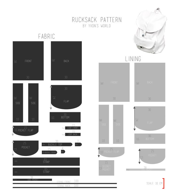 Here is the pattern for the faux leather rucksack I made. In the first pattern, I put the measurements I used. They are all in centimeters. In the second pattern I did not put the measurements in c...