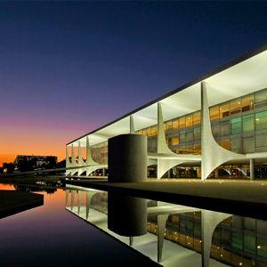 Palácio do Planalto, em Brasília. A capital do Brasil fois construída a partir do projeto do arquiteto e urbanista Lucio Costa, denominado Plano Piloto.