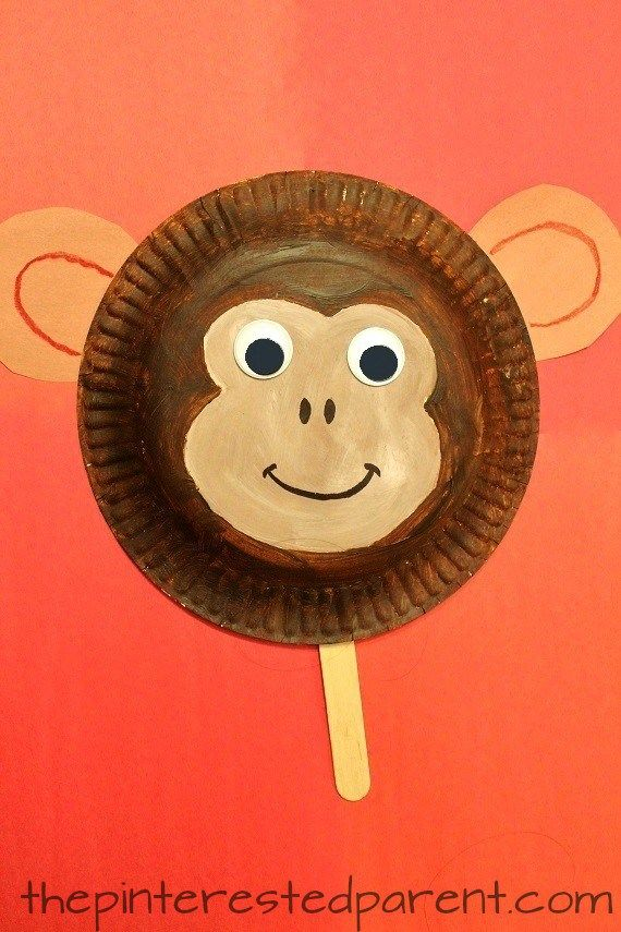 Paper Plate Monkey Mask craft for kids