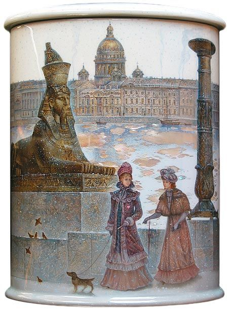 """Fedoskino Sergey Kozlov. """"Neva in the spring""""."""