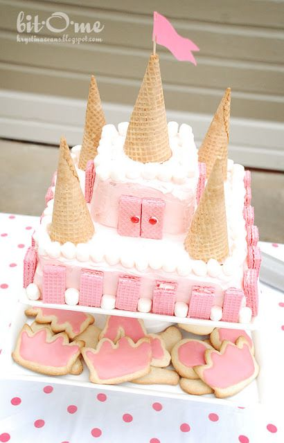 Princess Castle Birthday Cake - marshmallow embattlements
