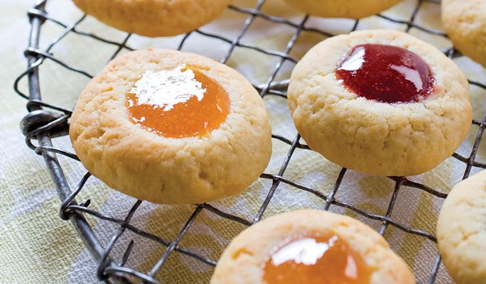 Jam Thumbprints - A little cream cheese in the dough gives these jewel ...