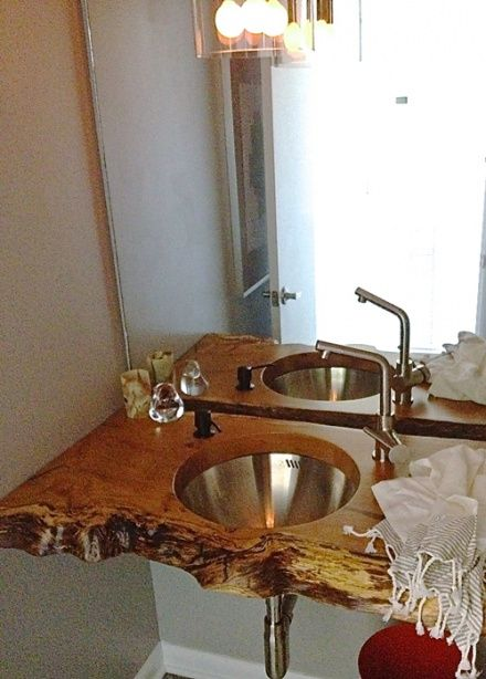 Mod Frugal - bathrooms - floating sink, floating vanity, white oak slab sink, white oak slab vanity, round sink, modern faucet, brushed nickel faucet, frameless mirror, frameless bathroom mirror, turkish hand towels, small bathroom,