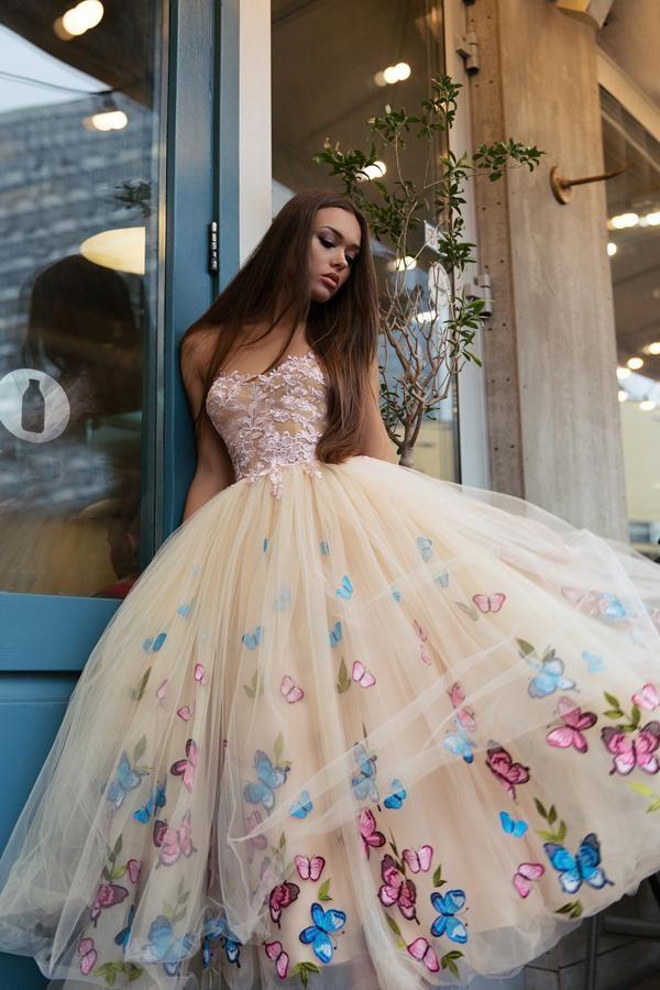 Ball Gown Tea Length Sweetheart Sleeveless Layers Floral Prom Dress,Party Dress M2265 – Hochzeitskleider, Kleider usw