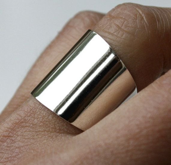CIJ Wide Silver Ring Wide Band Ring Silver Ring by JenniferWood, $56.00