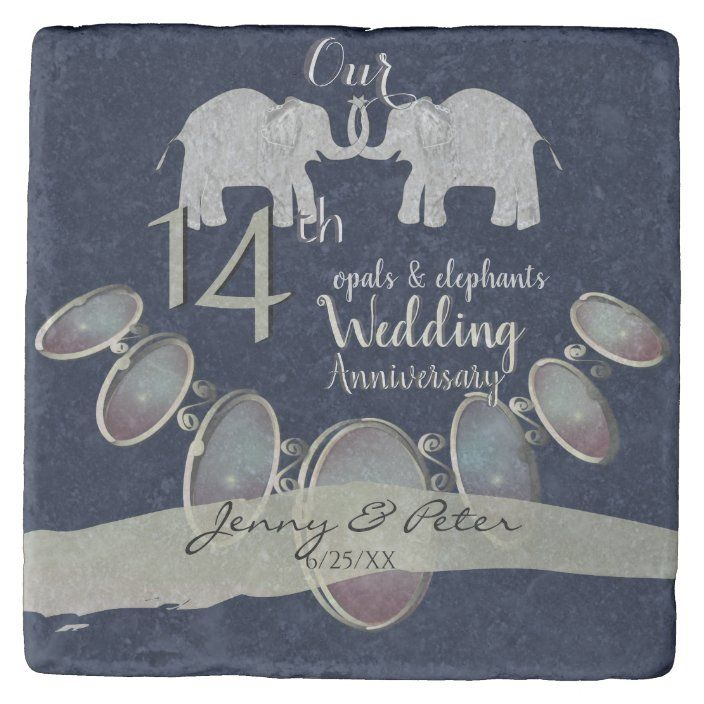 14th Wedding Anniversary Opals And Elephants Navy Stone Coaster Zazzle Com 14th Wedding Anniversary Stone Coasters Wedding Anniversary