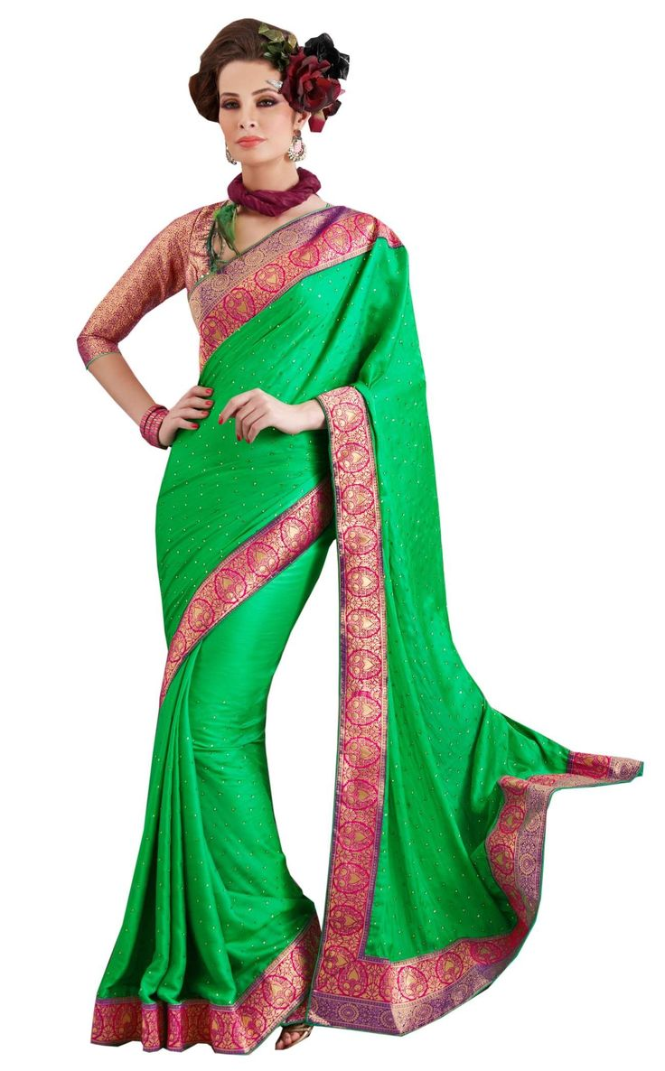 Raw Silk Green Saree at $109.00 (28% OFF)