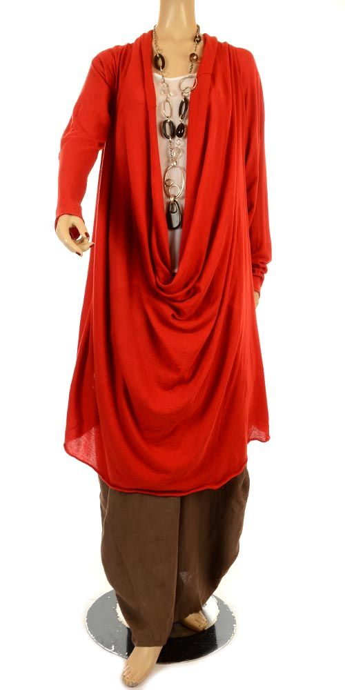Rundholz Fine Knit Deep Cowl Neck Chilli Red Lagenlook Tunic/Dress-Rundholz, lagenlook,